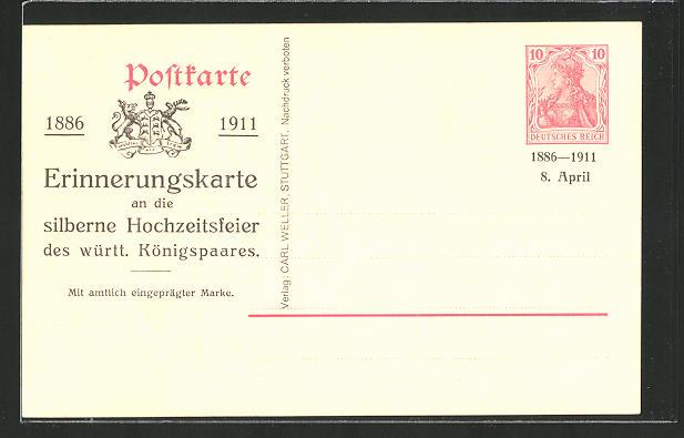 AK Silberne Hochzeit des württembergischen Königspaares 1911, Ganzsache 10 Pfg.