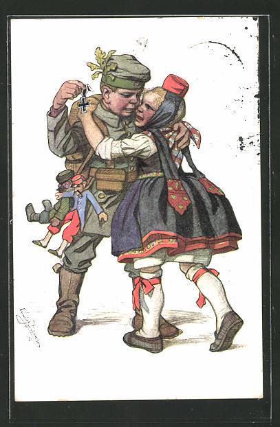 Künstler-AK Emil Beithan: Hessisches Kinderpaar mit traurigem Soldat beim Abschied