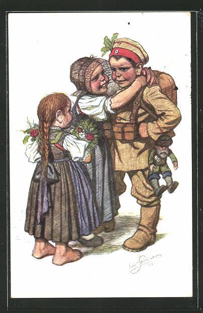 Künstler-AK Emil Beithan: Hessische Familie umarmt ihren kleinen Soldaten