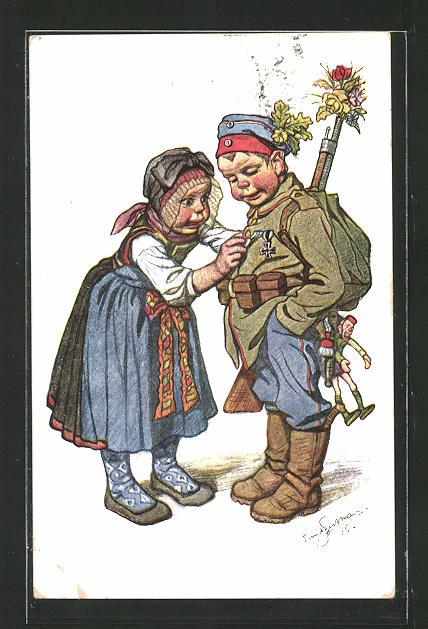 Künstler-AK Emil Beithan: Hessisches Frau betrachtet die Orden des kleinen Soldaten