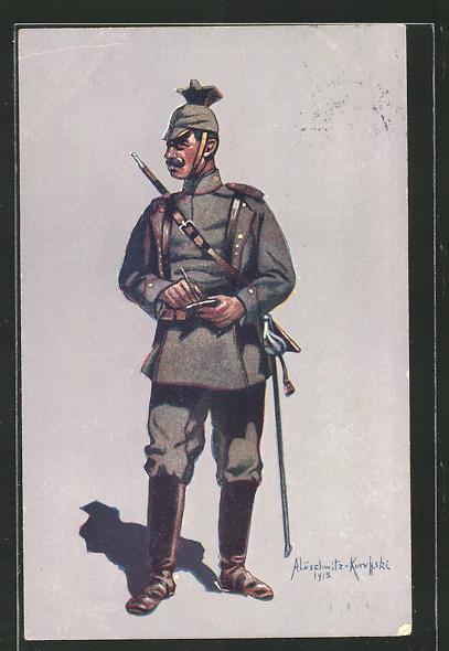Künstler-AK Gefreiter des 1. (Bayr.) Ulanen-Reg. Kaiser Wilhelm II. König v. Preussen (Bamberg) in Felduniform