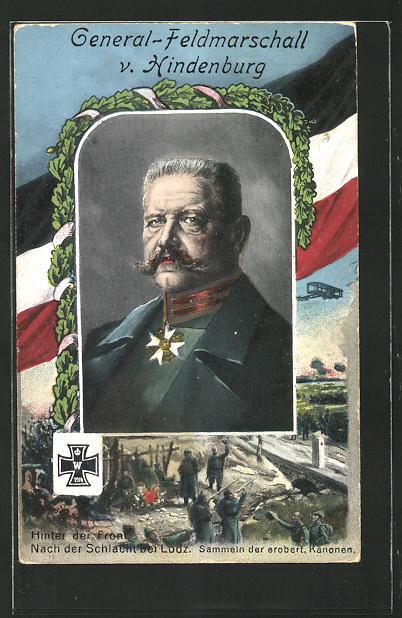 Passepartout-AK Portrait vom General-Feldmarschall Paul von Hindenburg