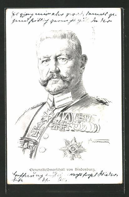 AK Generalfeldmarschall Paul von Hindenburg im Portrait