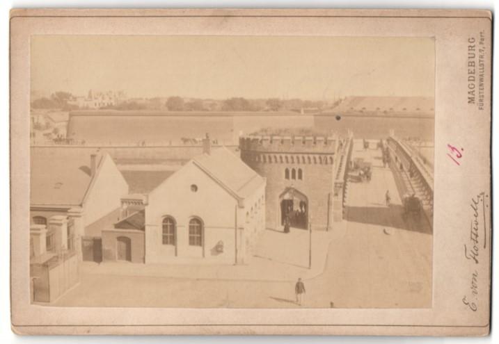 Fotografie E. von Flottwell, Magdeburg, Ansicht Magdeburg, Sternbrücke & Zitadelle