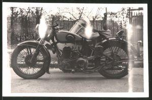 Fotografie Motorrad, Krad mit Seitenwagen, Kennzeichen W29.403