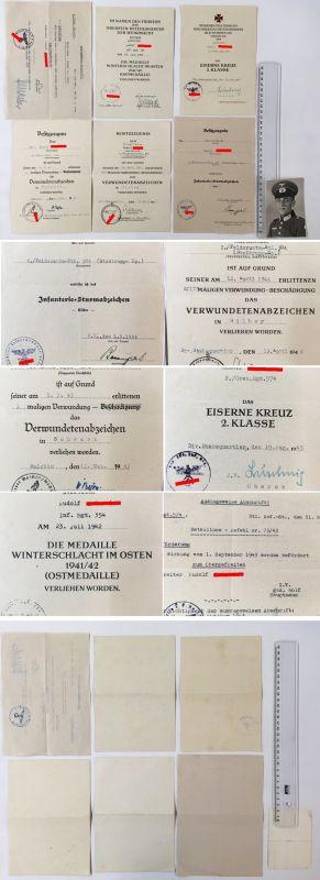 Urkundengruppe 2.WK WH-Heer 2. Gren. Rgt. 354 Stosstrupp-Kp. Inf Sturmabz. EK II