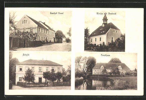 AK Cosel, Gasthof Cosel, Schule, Forsthaus, Kirche mit Denkmal