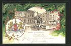 Passepartout-Lithographie Bremen, Partie am Teichmannsbrunnen, Stadt-Wappen