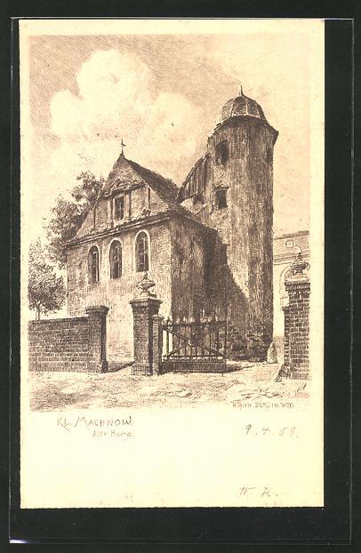Künstler-AK Klein Machnow, Ansicht der Alten Burg