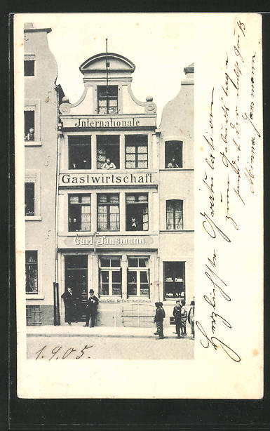AK Düsseldorf, Internationales Gasthaus Carl Jansmann