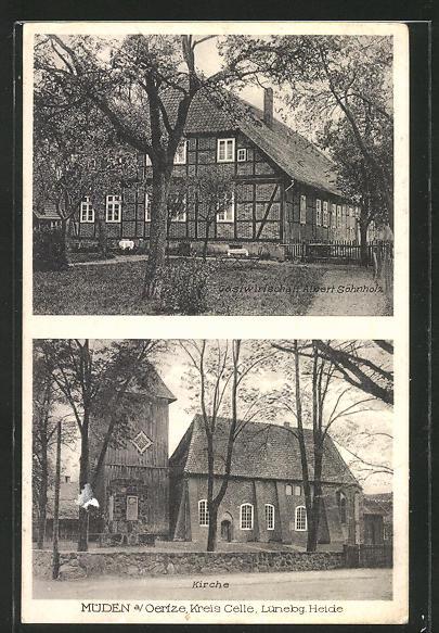 AK Müden a. Oertze, Gasthaus Albert Söhnholz, Ansicht der Kirche