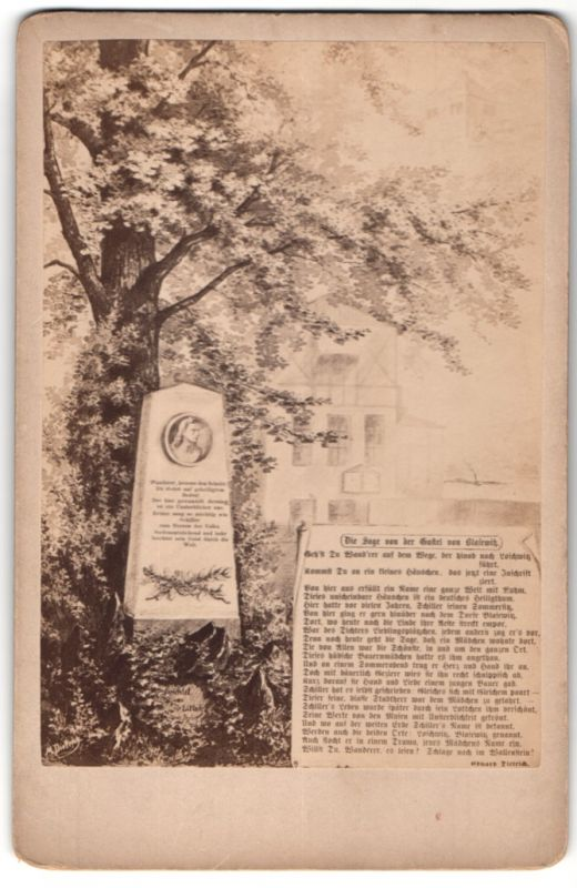 Fotografie Gemälde von unbek. Künstler, Schiller-Gedenkstein, Die Sage von der Gustl von Blasewitz