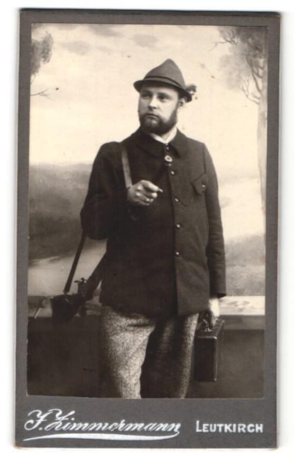 Fotografie J. Zimmermann, Leutkirch, Portrait Jäger mit Flinte