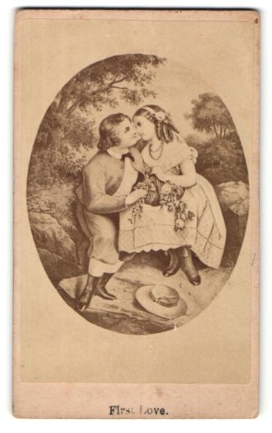Fotografie Gemälde von unbek. Künstler, First Love