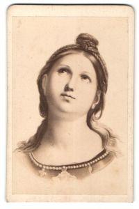 Fotografie Gemälde von Raphael, Kopf der heiligen Caecilie, Gez. von Prof. Schurig