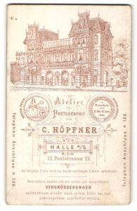 Fotografie C. Hopfner, Halle a/S, Ansicht Halle a/S, Atelier Poststrasse 13, vordersetig Portrait Dame