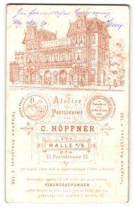 Fotografie C. Höpfner, Halle a/S, Ansicht Halle a/S, Atelier Poststrasse 13, Portrait Herr mit Bart