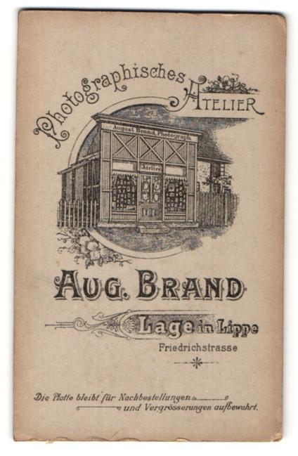 Fotografie Aug. Brand, Lage i/Lippe, Ansicht Lage, Atelier Friedrichstrasse, vorderseitig Portrait Kleinkind