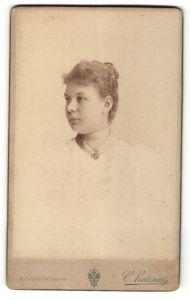 Fotografie Carl Pietzner, Wien, Portrait Dame mit zusammengebundenem Haar