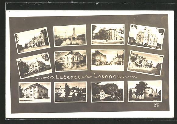 AK Lucenec / Losonc, Ansicht der Synagoge, Strassenpartie