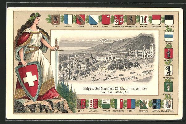 AK Zürich, Eidgen. Schützenfest, Festplatz Albisgütli, Kantone Wappen, Schützenverein