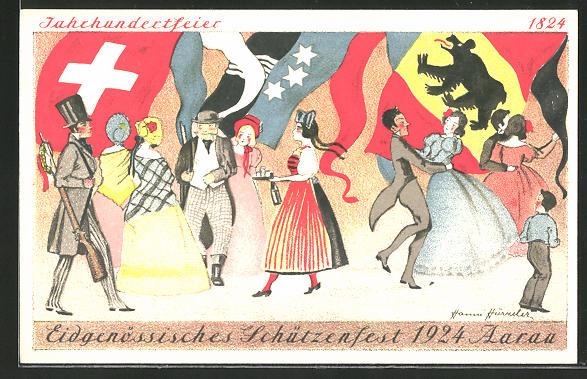 AK Aarau, Eidgenössisches Schützenfest 1924, tanzende Paare auf der Jahrhundertfeier, Schützenverein