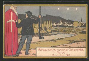 AK Aarau, Aargauisches Kantonal-Schützenfest 1908, Schütze und Geistlicher, Schützenverein