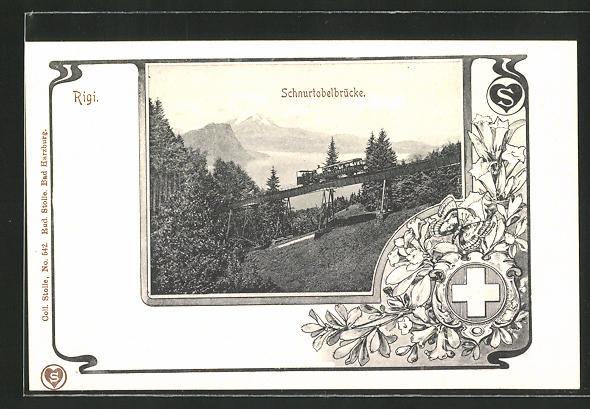 AK Rigi, Bergbahn auf der Schnurtobelbrücke
