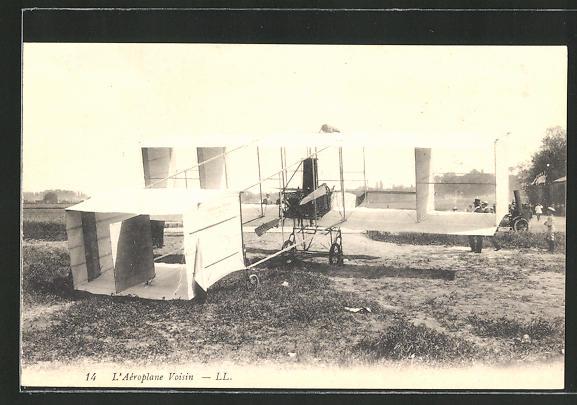 AK L'Aéroplane Voisin, frühes Flugzeug auf der Startbahn