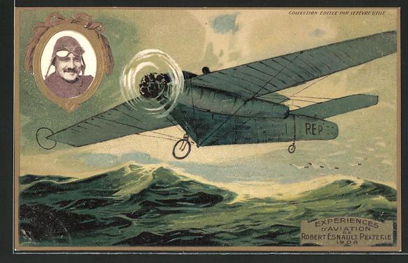 Künstler-AK Pilot Robert Esnault Pelterie in seinem Flugzeug