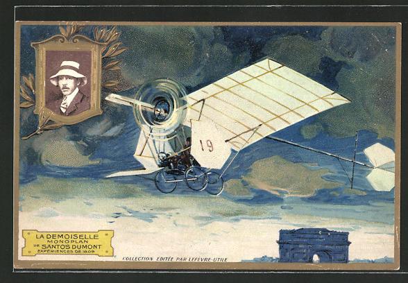 Künstler-AK Pilot Santos Dumont in seinem Flugzeug