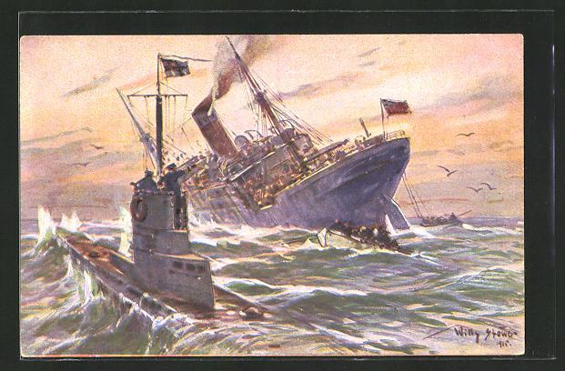 Künstler-AK Willy Stoewer: Deutsches U-Boot versenkt einen englischen Handelsdampfer