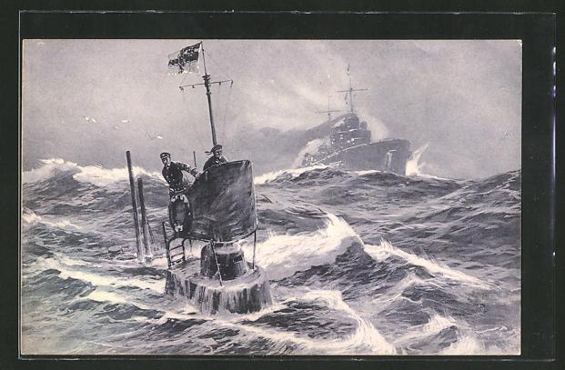 Künstler-AK Willy Stoewer: Deutsches U-Boot in der Nordsee