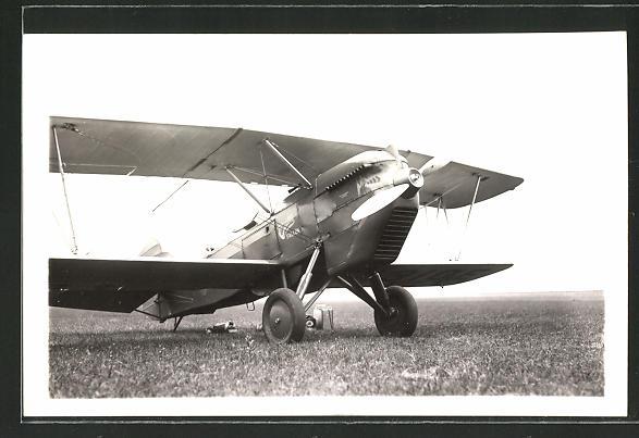 Foto-AK Doppeldecker-Flugzeug auf einer Wiese