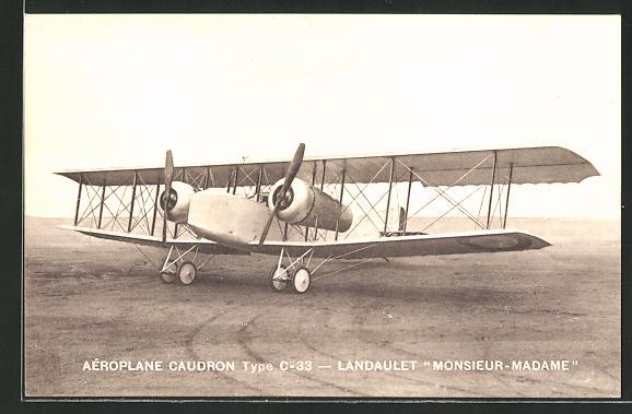 AK Aéroplane Caudron Type C-33 - Landaulet