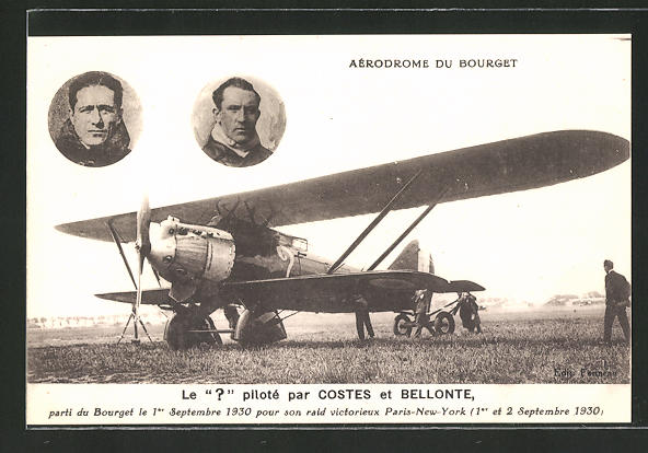 AK Aérodrome du Bourget, Doppeldecker-Flugzeug, Piloten Costes und Bellonte