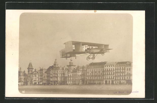 AK Ostende, Le Bon in seinem Doppeldecker-Flugzeug
