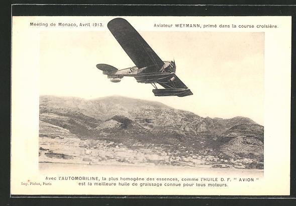 AK Monaco, Meeting 1913, Pilot Weymann im Wasserflugzeug