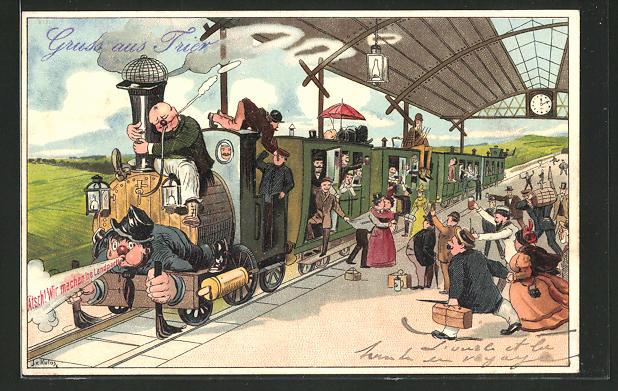AK Eisenbahn, Zug verlässt den Bahnhof für eine Landpartie