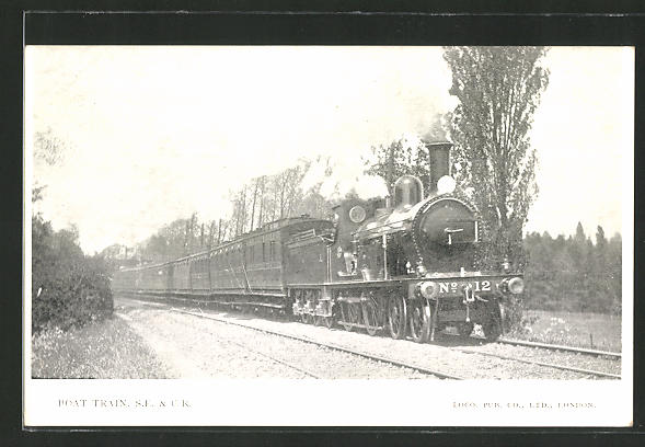 AK Boat Train S.E. & C.R., englische Eisenbahn