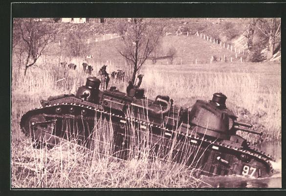 AK Char de 70 Tonnes traversant une Rivière, Panzer im Gelände