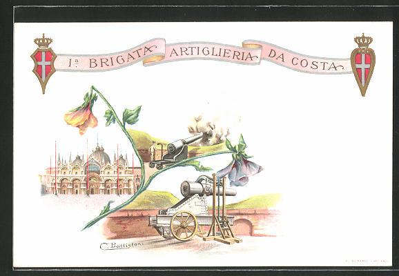 Lithographie 1. Brigata Artiglieria da Costa, Italienische Artillerie