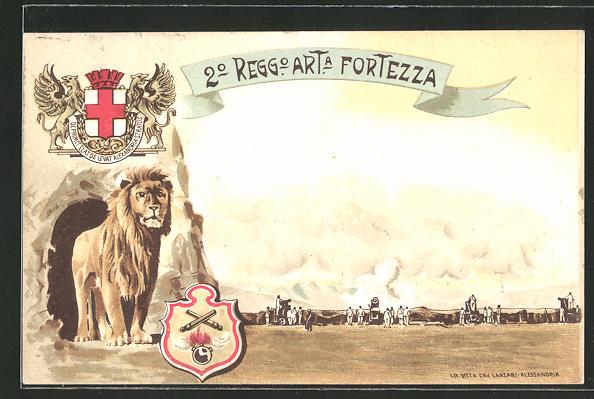 Lithographie Italienische Artillerie, 2. Regg. Art. Fortezza, Löwe