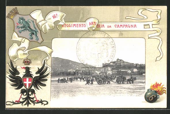 Lithographie Italienische Artillerie, 16. Reggimento Artiglieria da Campagna