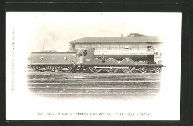 AK Six-Coupled Bogie Express Locomotive, Caledonian Railway, englische Eisenbahn Lok mit Tender