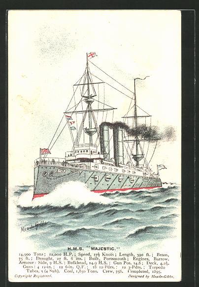 Künstler-AK Kriegsschiff H.M.S.