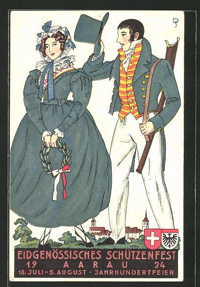 Künstler-AK Aarau, Eidgenössisches Schützenfest 1924, Paar in historischer Tracht