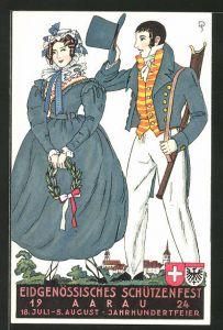 Künstler-AK Aarau, Eidgenössisches Schützenfest 1924, Jahrhundertfeier, Paar in historischer Tracht