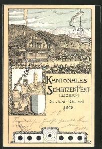Künstler-AK Luzern, VI. Kantonal-Schützenfest 1908, Festplatz
