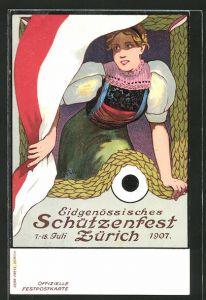 Künstler-AK Zürich, Eidenössisches Schützenfest 1907, Schweizerin in Tracht mit Fahne